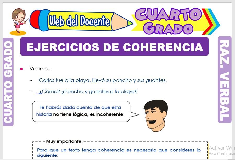 Ficha de Ejercicios de Coherencia para Cuarto Grado de Primaria