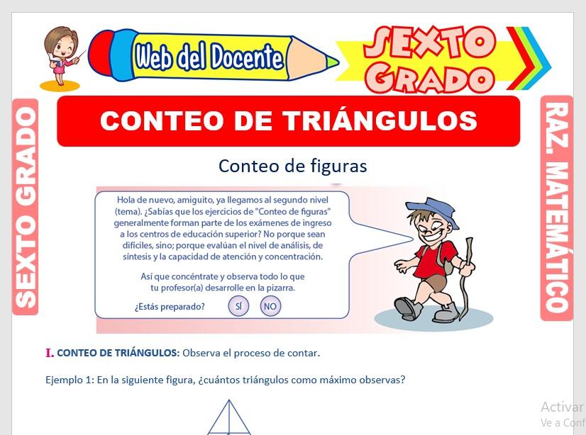 Ficha de Ejercicios de Conteo de Triángulos para Sexto Grado de Primaria