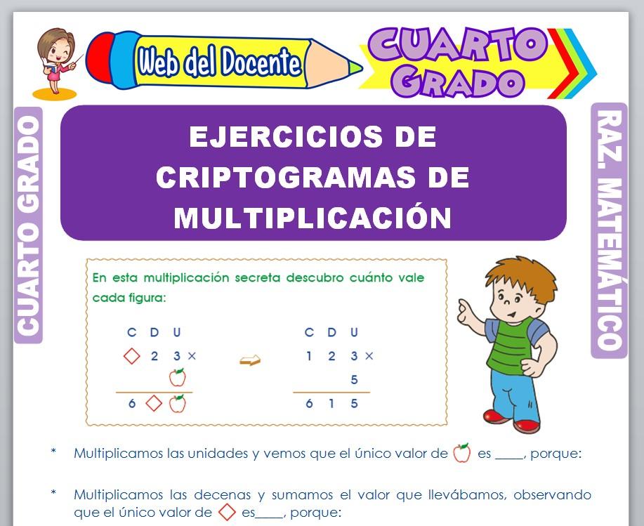 Ficha de Ejercicios de Criptogramas de Multiplicación para Cuarto Grado de Primaria