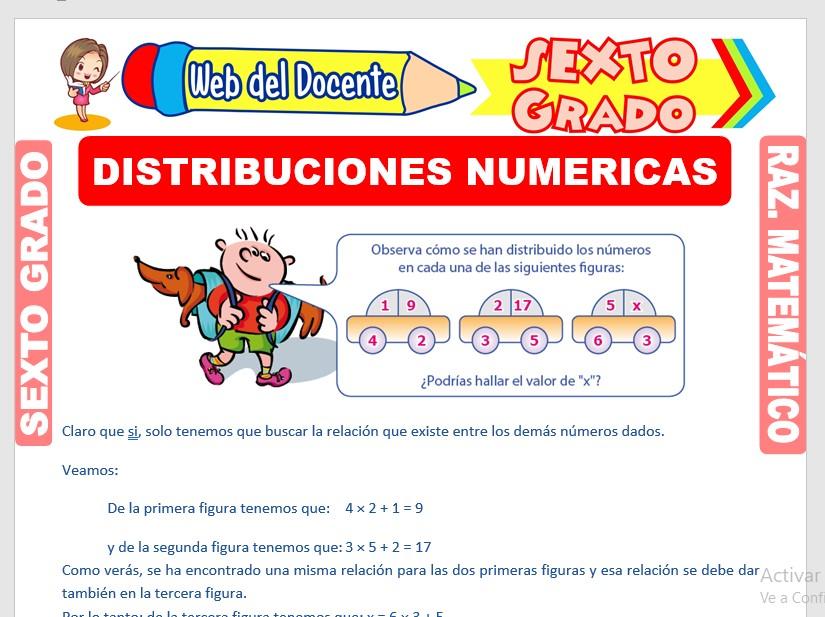 Ficha de Ejercicios de Distribuciones Numéricas para Sexto Grado de Primaria