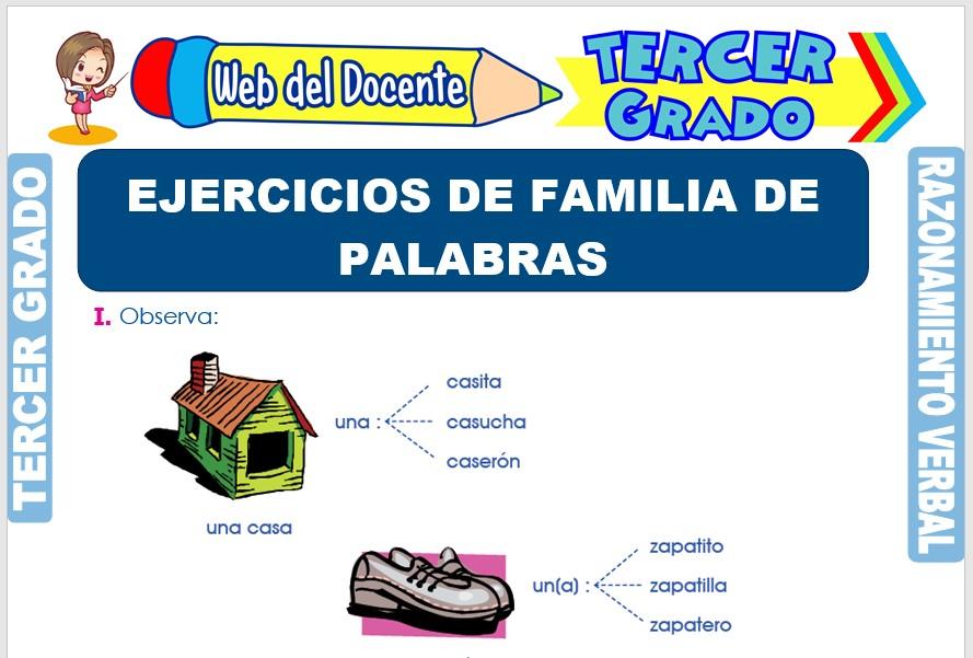 Ficha de Ejercicios de Familia de Palabras para Tercer Grado de Primaria