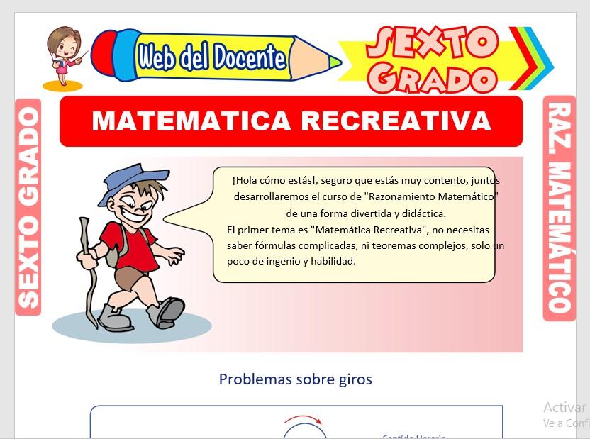 Ficha de Ejercicios de Matemática Recreativa para Sexto Grado de Primaria