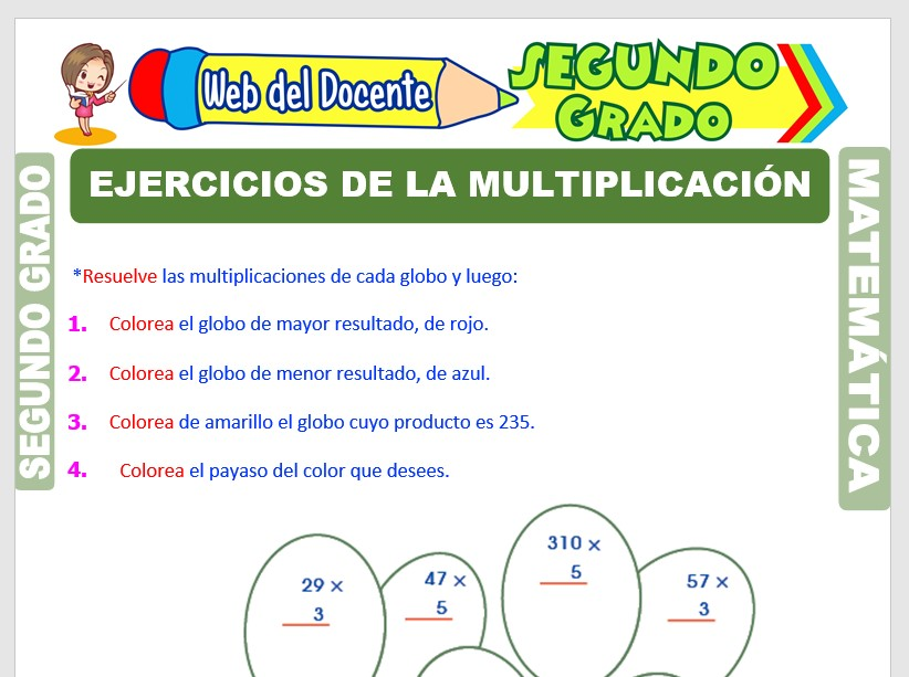 Ficha de Ejercicios de Multiplicación para Segundo Grado de Primaria