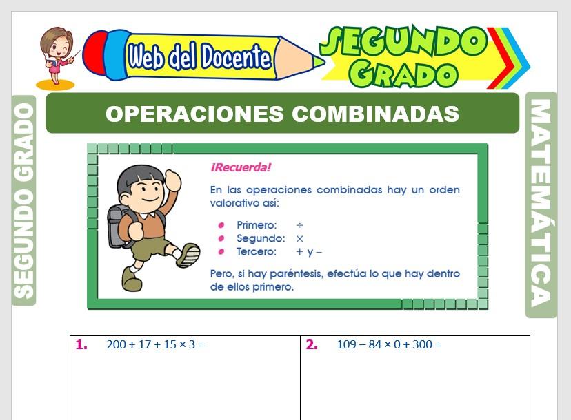 Ficha de Ejercicios de Operaciones Combinadas para Segundo Grado de Primaria