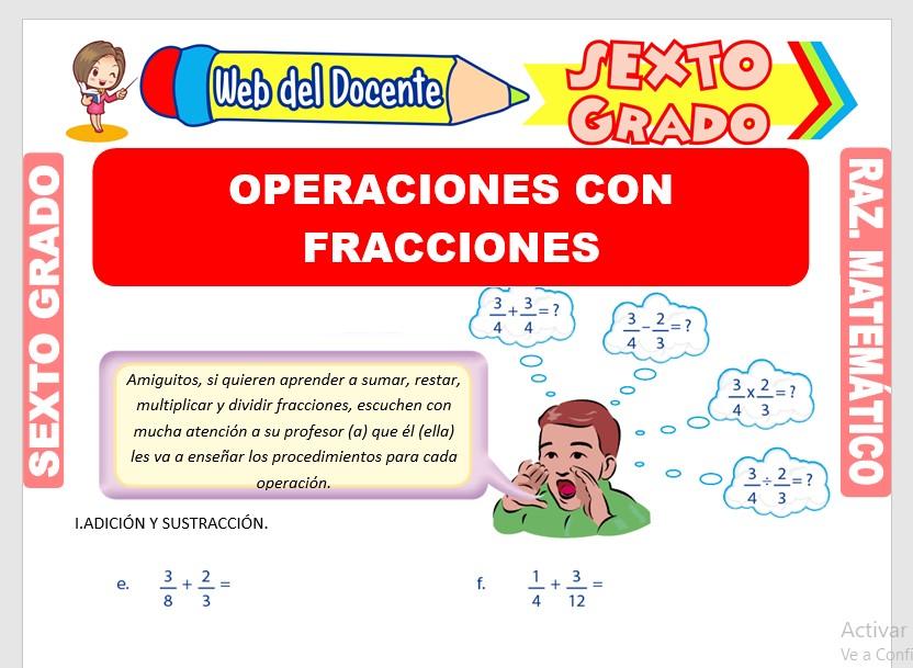 Ficha de Ejercicios de Operaciones con Fracciones para Sexto Grado de Primaria