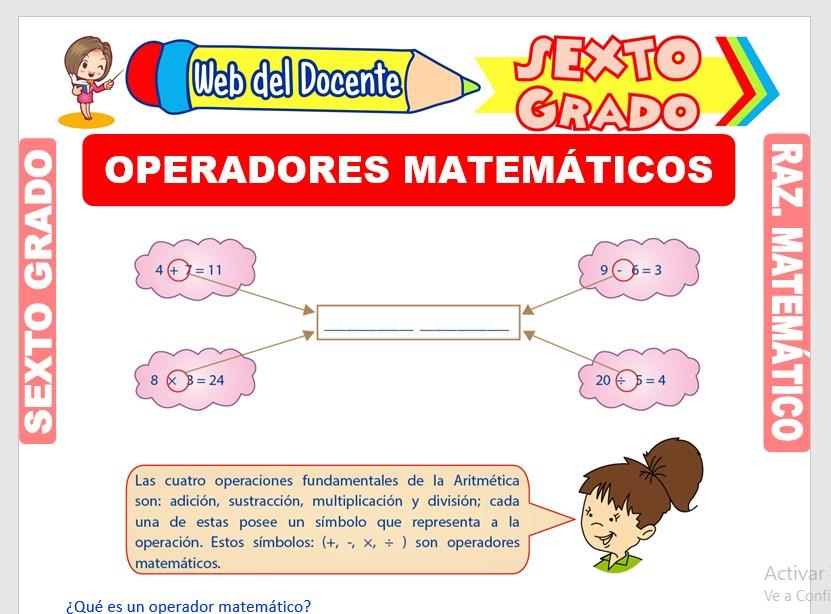 Ficha de Ejercicios de Operadores Matemáticos para Sexto Grado de Primaria