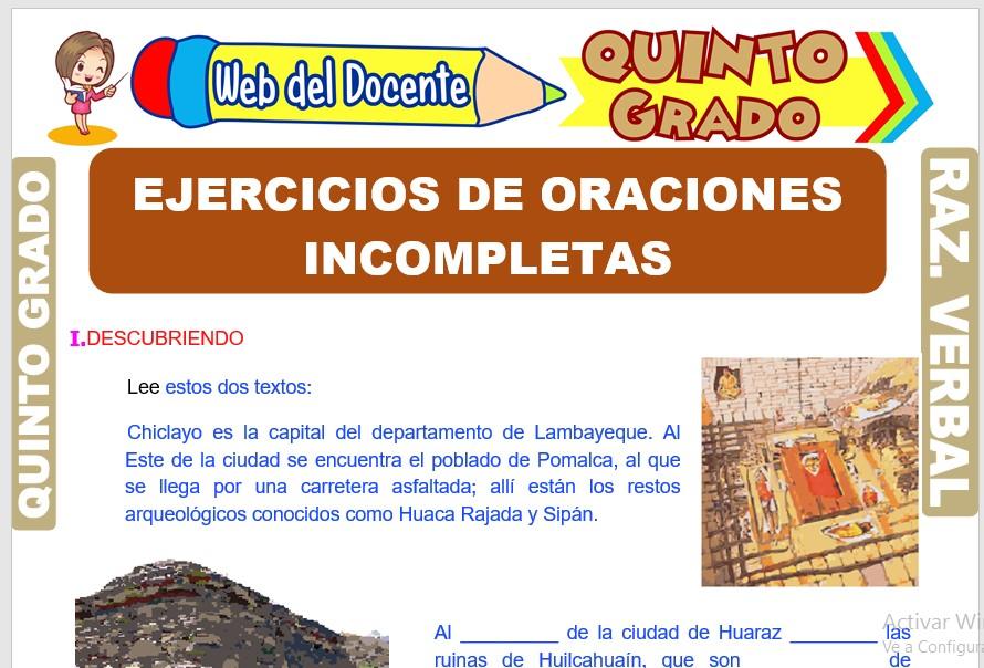 Ficha de Ejercicios de Oraciones Incompletas para Quinto Grado de Primaria
