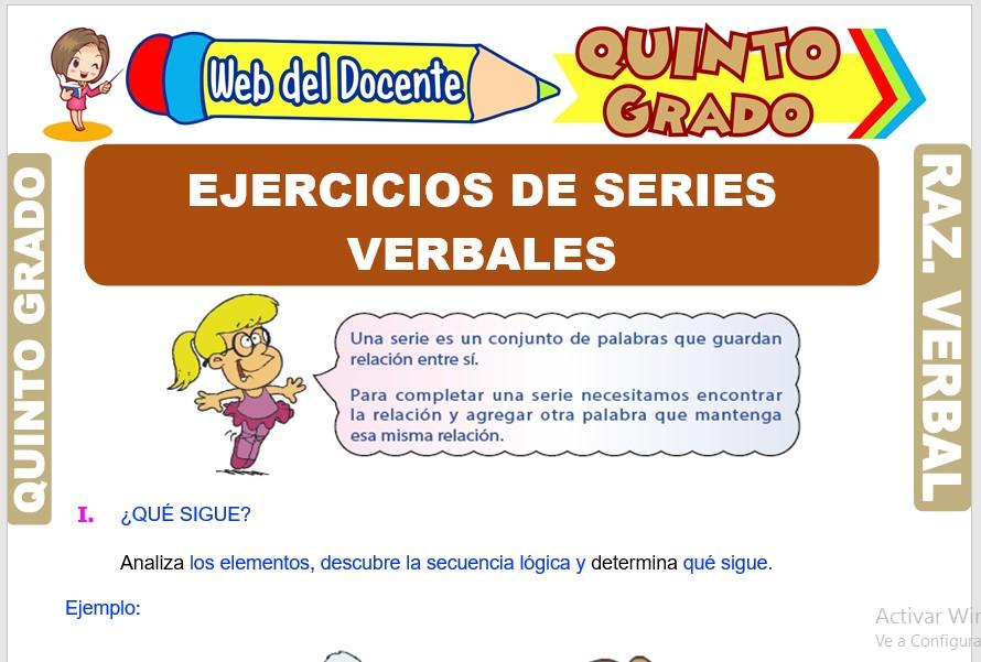 Ficha de Ejercicios de Series Verbales para Quinto Grado de Primaria