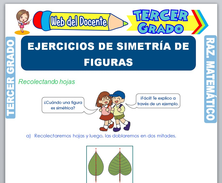Ficha de Ejercicios de Simetría de Figuras para Tercer Grado de Primaria