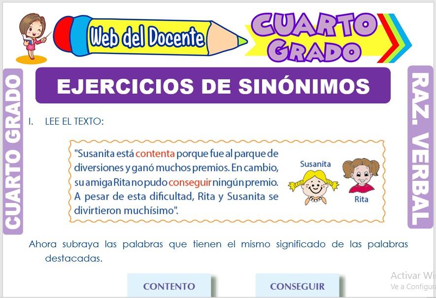 Ficha de Ejercicios de Sinónimos para Cuarto Grado de Primaria