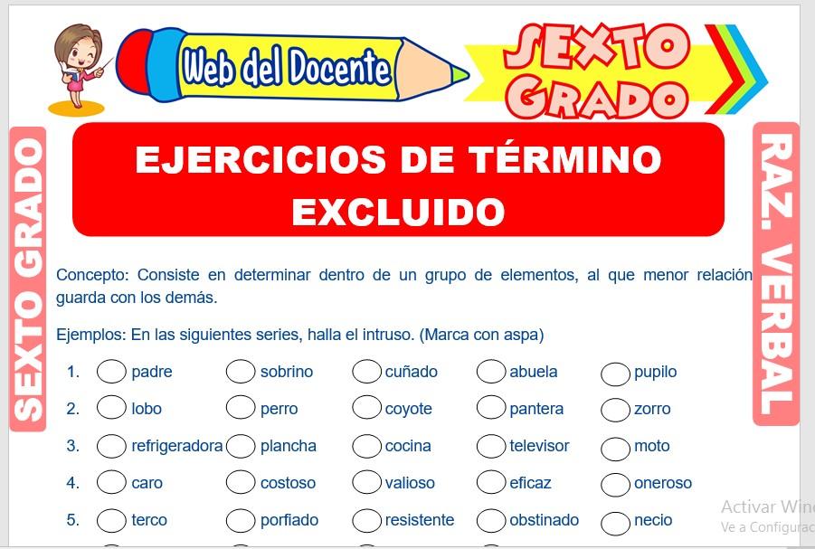 Ficha de Ejercicios de Término Excluido para Sexto Grado de Primaria