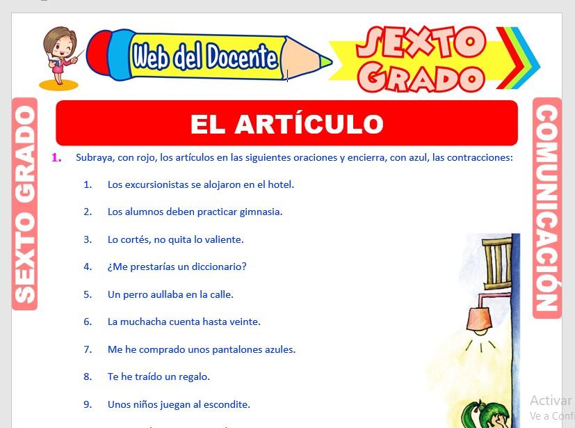 Ficha de Ejercicios del Artículo para Sexto Grado de Primaria