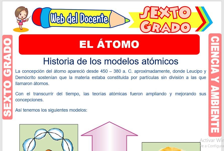 Ficha de El Átomo para Sexto Grado de Primaria