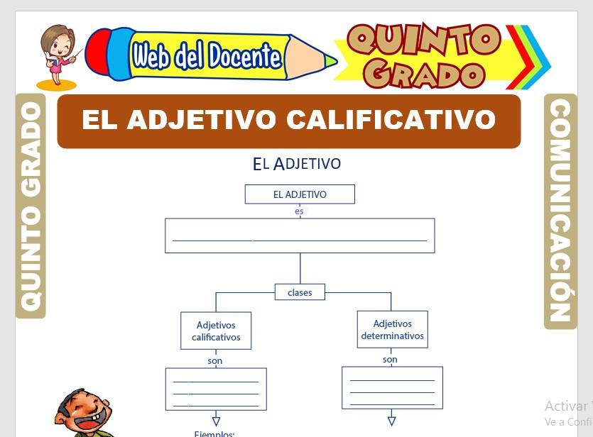 Ficha de El Adjetivo Calificativo para Quinto Grado de Primaria