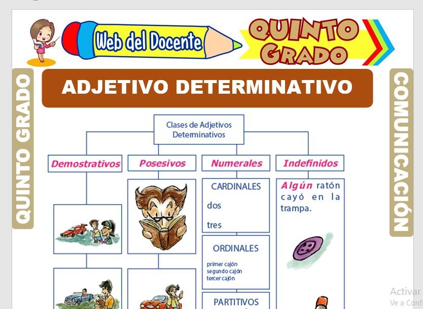 Ficha de El Adjetivo Determinativo para Quinto Grado de Primaria