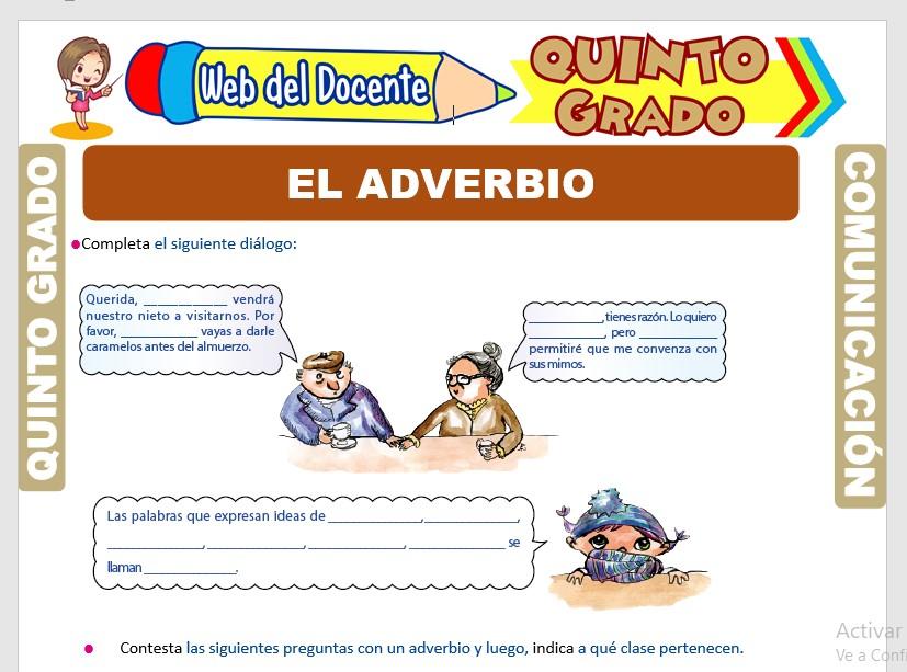 Ficha de El Adverbio para Quinto Grado de Primaria