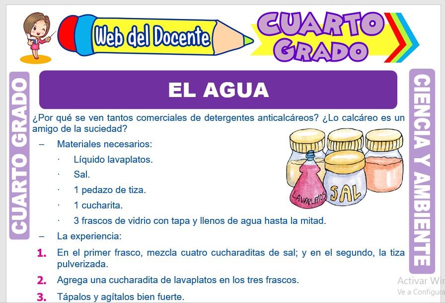 Ficha de El Agua para Cuarto Grado de Primaria