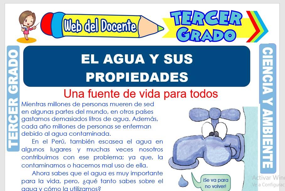 Ficha de El Agua y sus Propiedades para Tercer Grado de Primaria