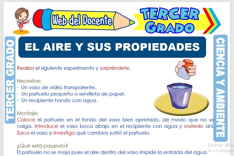 Ficha de El Aire y sus Propiedades para Tercer Grado de Primaria