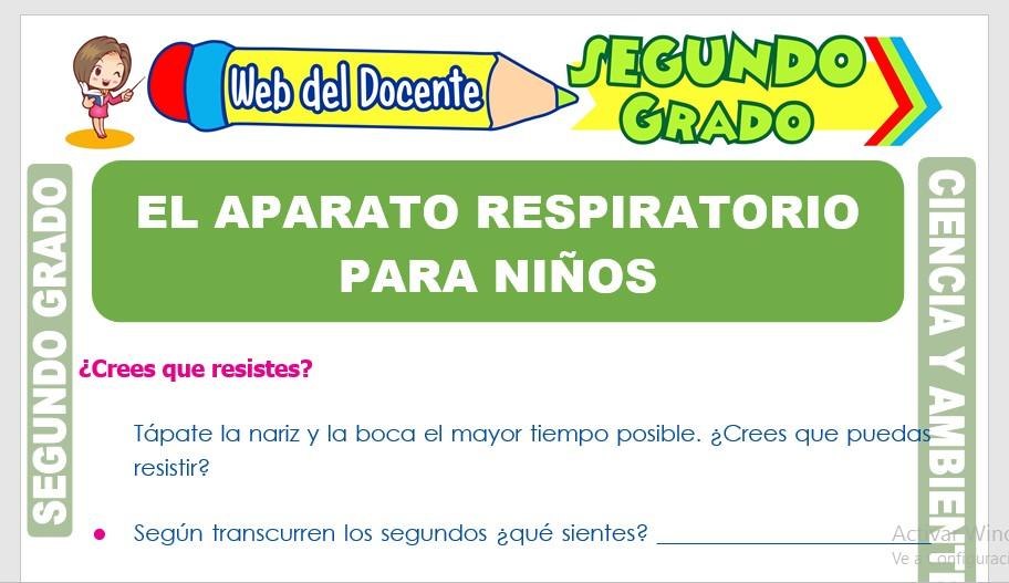 Ficha de El Aparato Respiratorio para Niños para Segundo Grado de Primaria
