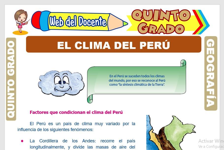 Ficha de El Clima del Perú para Quinto Grado de Primaria