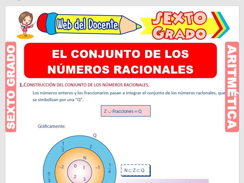 Ficha de El Conjunto de los Números Racionales para Sexto Grado de Primaria