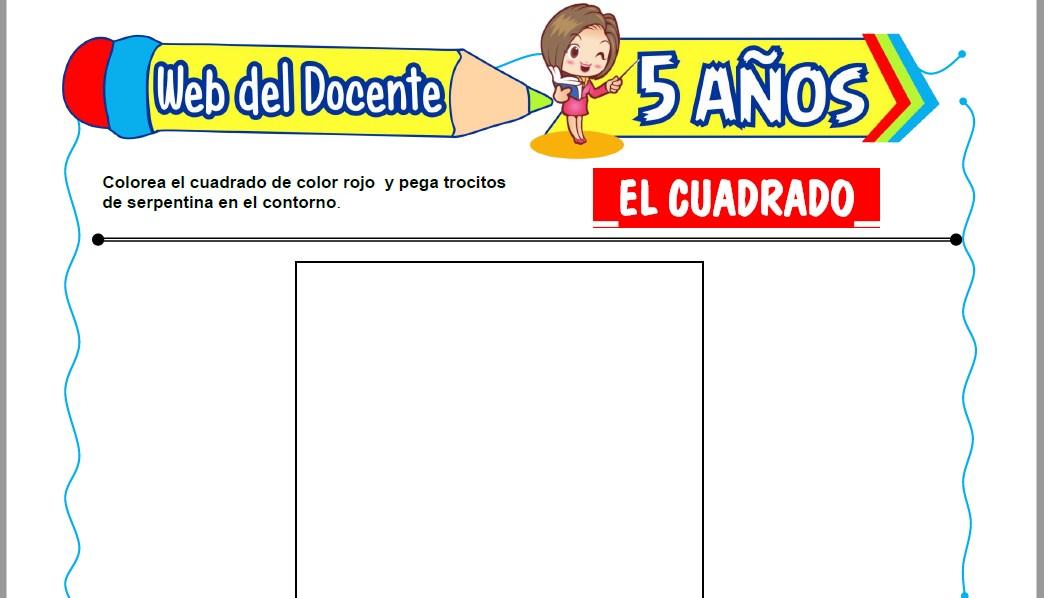 Muestra de la Ficha de El Cuadrado para Niños de 5 Años