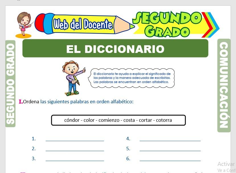 Ficha de El Diccionario para Segundo Grado de Primaria