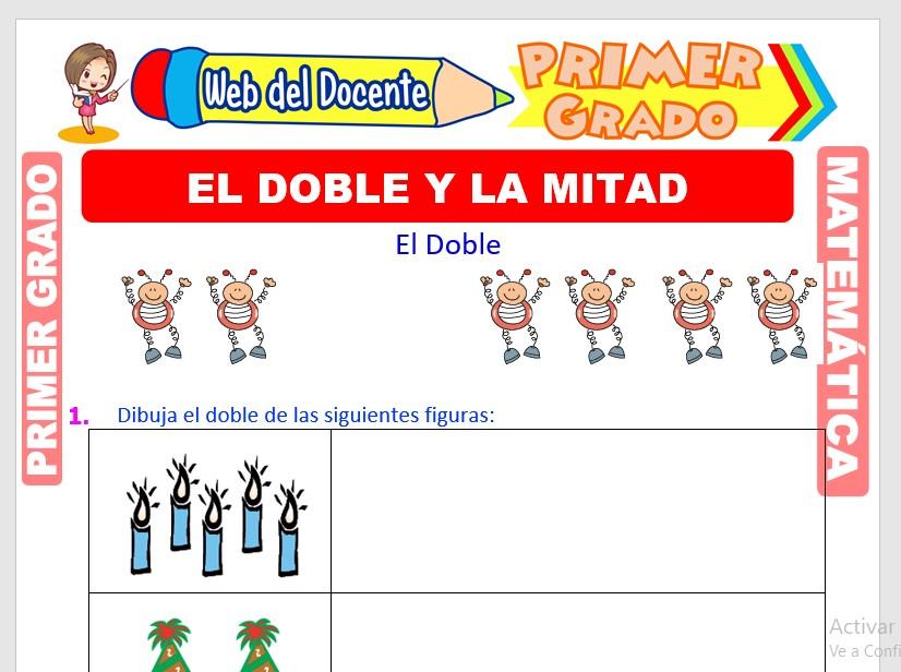Ficha de El Doble y la Mitad para Primer Grado de Primaria