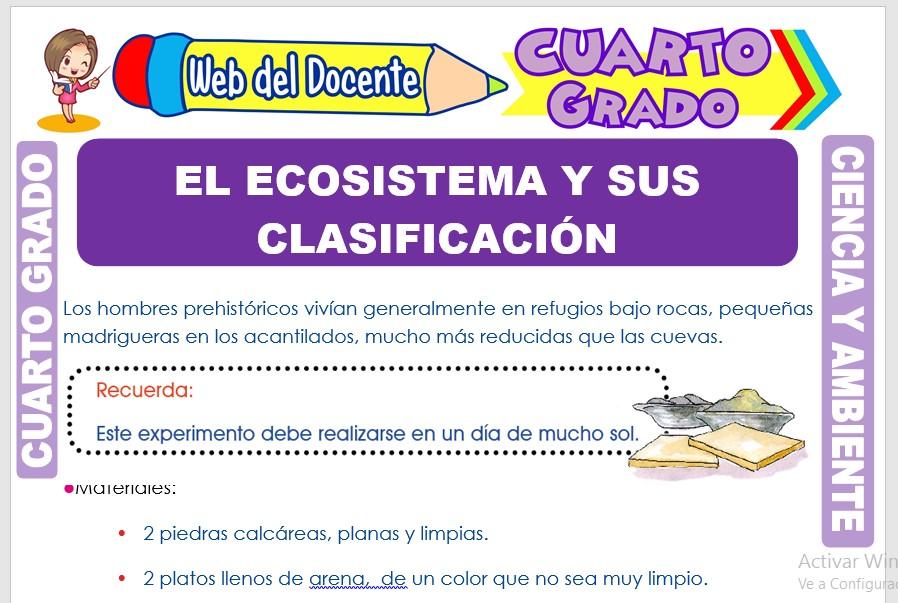 Ficha de El Ecosistema y sus Clasificación para Cuarto Grado de Primaria