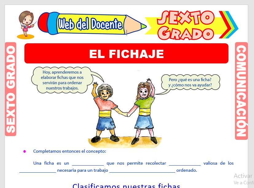 Ficha de El Fichaje para Sexto Grado de Primaria
