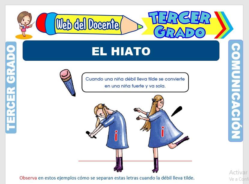 Ficha de El Hiato para Tercer Grado de Primaria