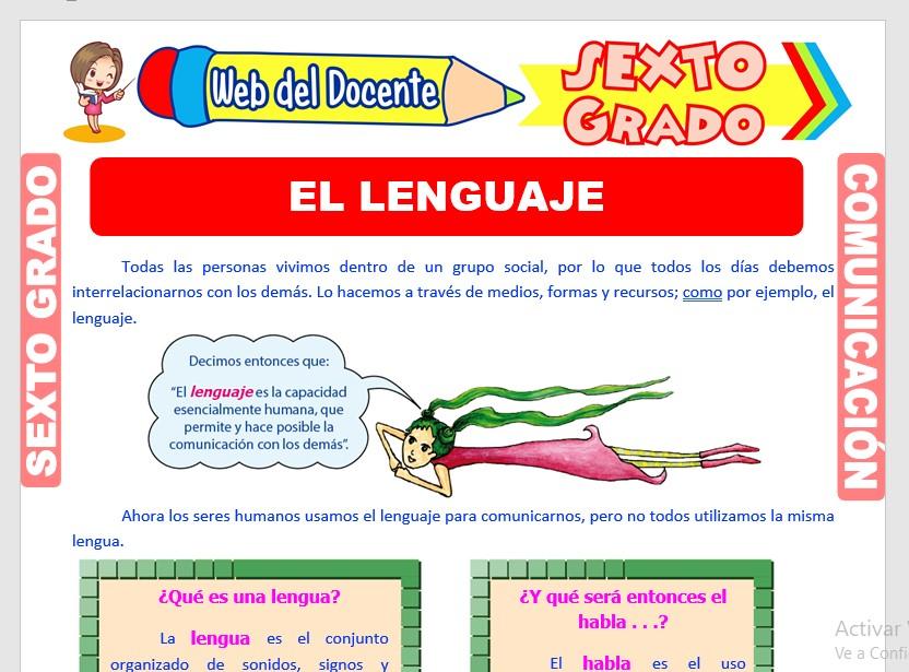 Ficha de El Lenguaje para Sexto Grado de Primaria