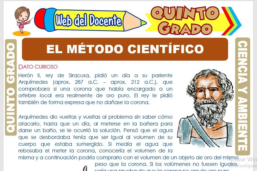 Ficha de El Método Científico para Quinto Grado de Primaria