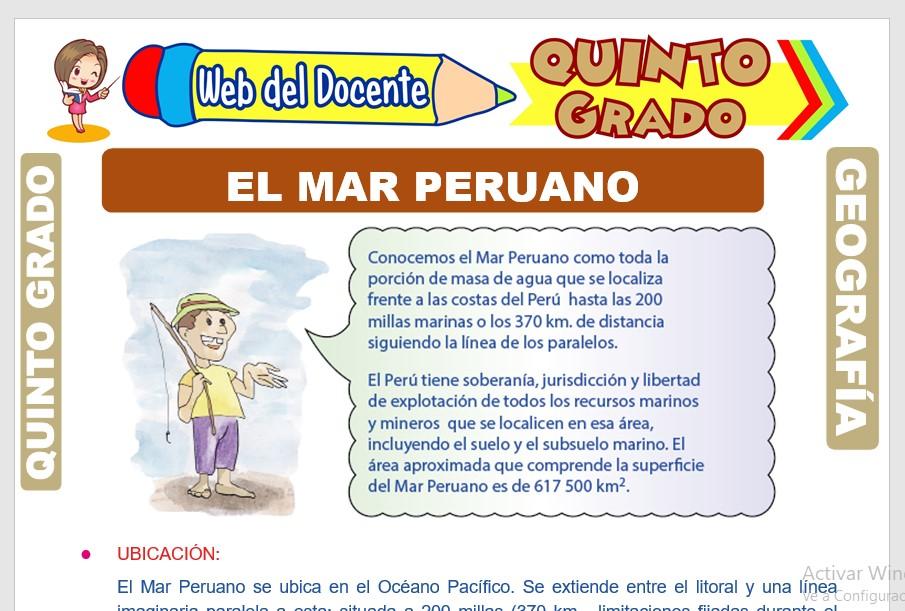 Ficha de El Mar Peruano para Quinto Grado de Primaria