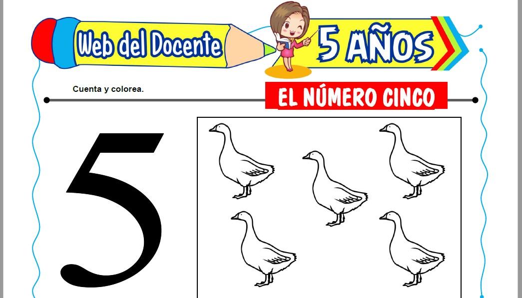Muestra de la Ficha de El Número Cinco para Niños de 5 Años
