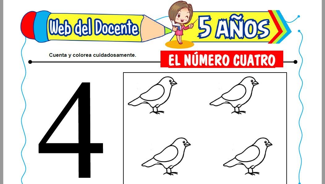 Muestra de la Ficha de El Número Cuatro para Niños de 5 Años