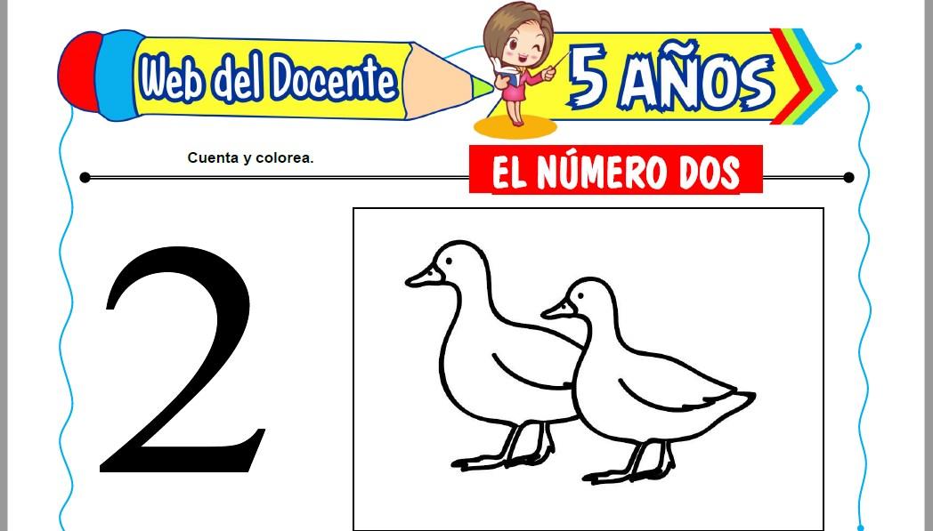 Muestra de la Ficha de El Número Dos para Niños de 5 Años