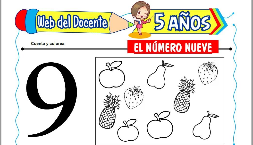 Muestra de la Ficha de El Número Nueve para Niños de 5 Años