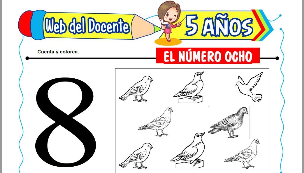 Muestra de la Ficha de El Número Ocho para Niños de 5 Años