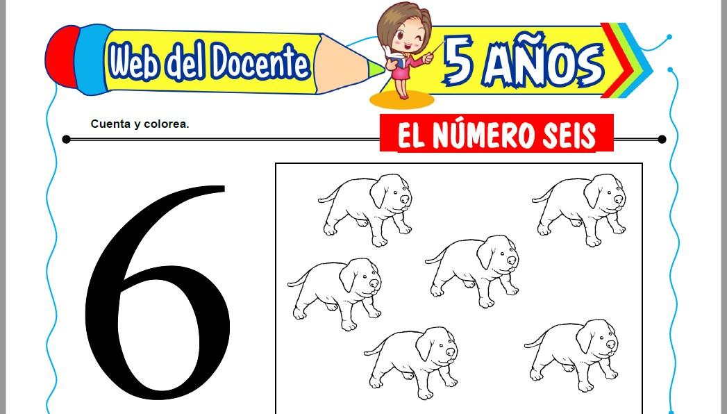 Muestra de la Ficha de El Número Seis para Niños de 5 Años