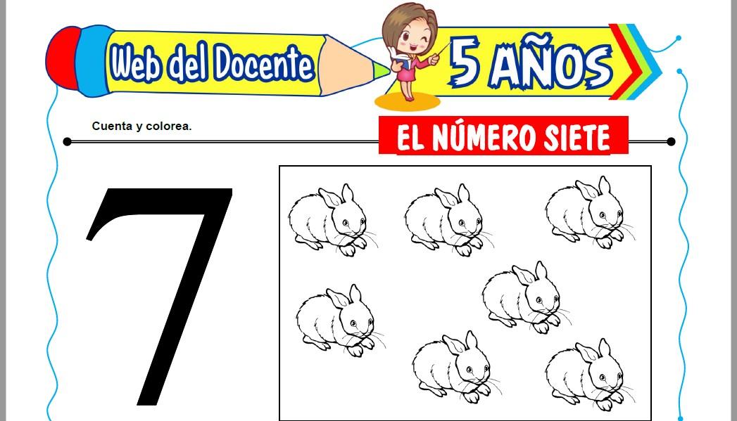 Muestra de la Ficha de El Número Siete para Niños de 5 Años