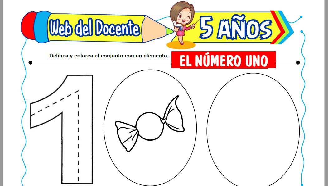 Muestra de la Ficha de El Número Uno para Niños de 5 Años