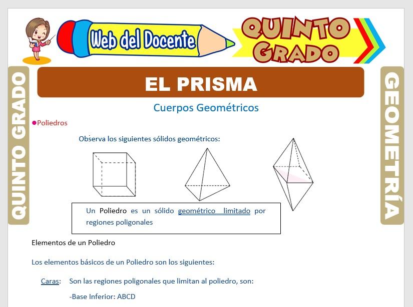 Ficha de El Prisma para Quinto Grado de Primaria