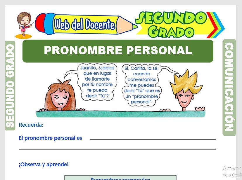 Ficha de El Pronombre Personal para Segundo Grado de Primaria