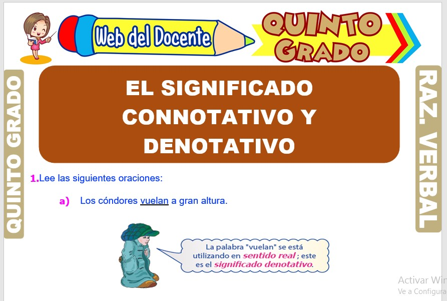 Ficha de El Significado Connotativo y Denotativo para Quinto Grado de Primaria