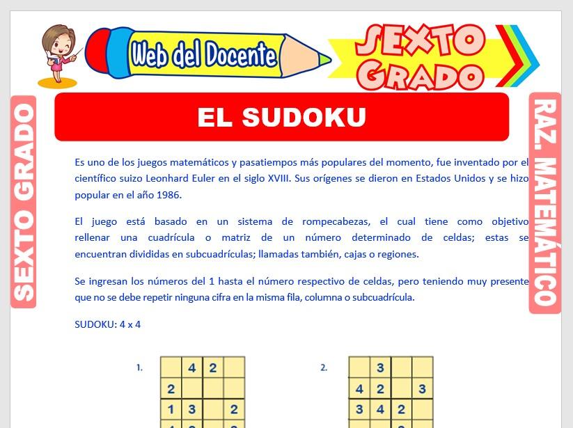 Ficha de El Sudoku para Sexto Grado de Primaria