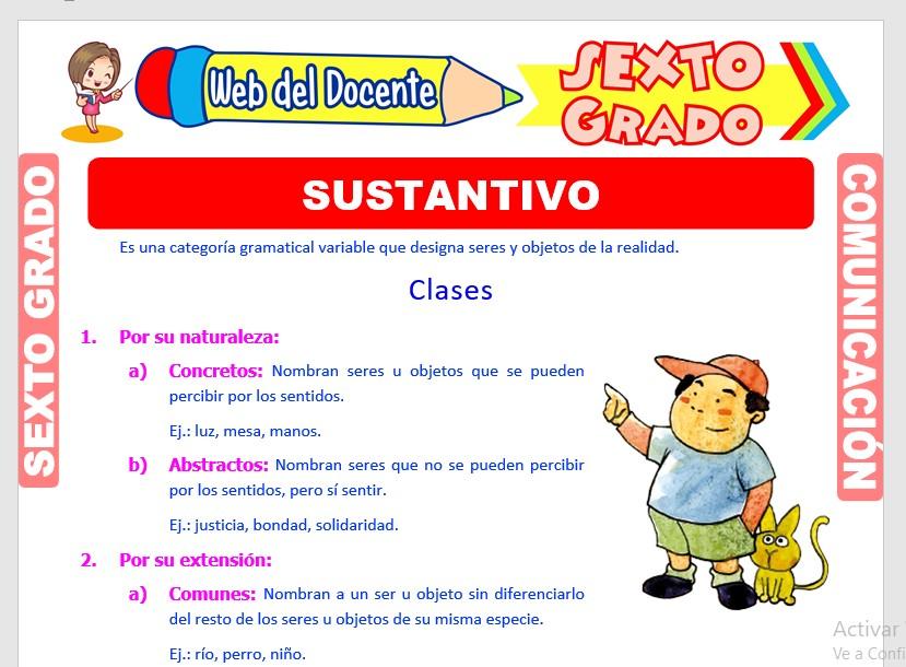 Ficha de El Sustantivo y sus Clases para Sexto Grado de Primaria