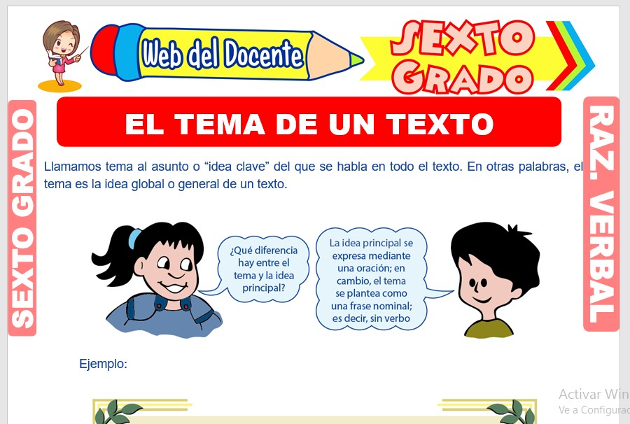 Ficha de El Tema de un Texto para Sexto Grado de Primaria