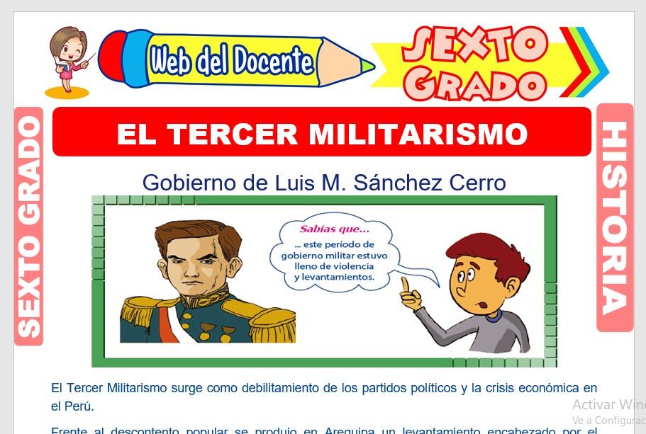 Ficha de El Tercer Militarismo para Sexto Grado de Primaria